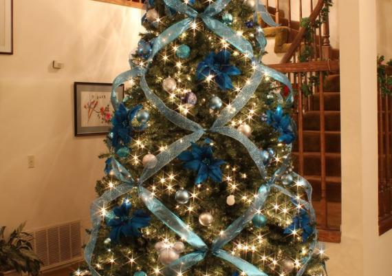 Blue and Silver Elegant Christmas Tree