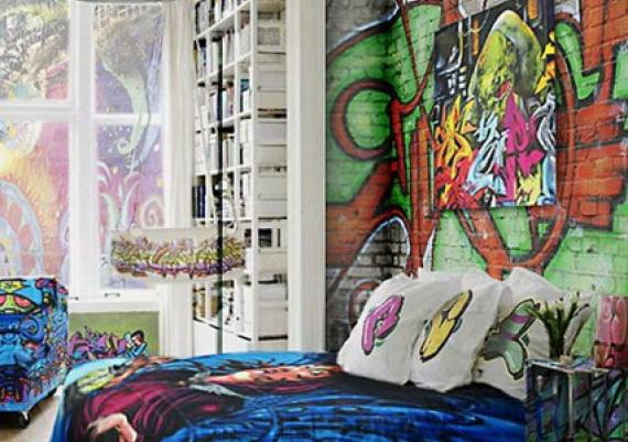 Brick Walls Decorating with Graffiti in Cool Bedroom