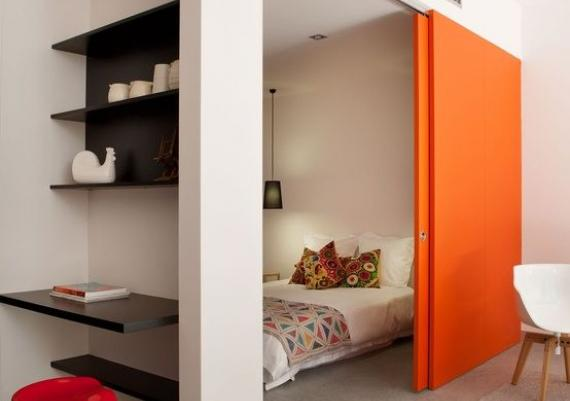 Bright Sliding Doors For Separating Bedroom