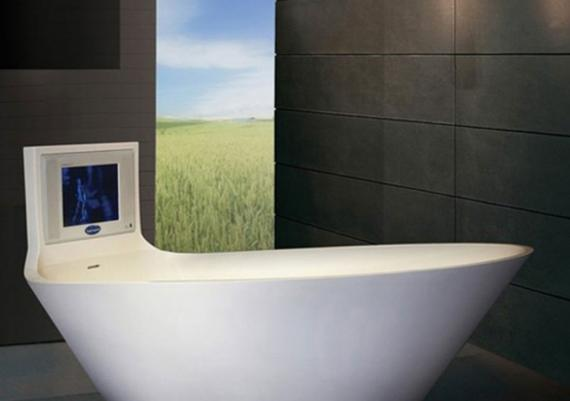 Contemporary Bathtub Design Idea With Incorporated LCD