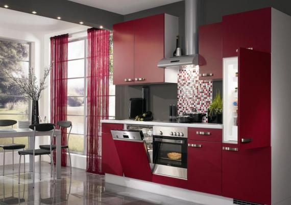 Contemporary Decoarting Red Kitchen Idea