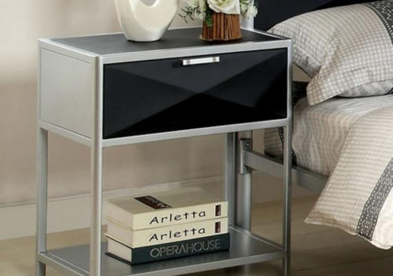 Contemporary Steel And Black Glass Contemporary Nightstand