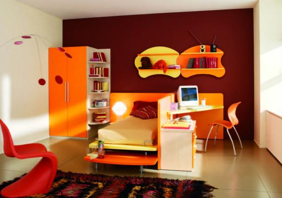 Cool And Fun Red And Orange Bedroom For Kids