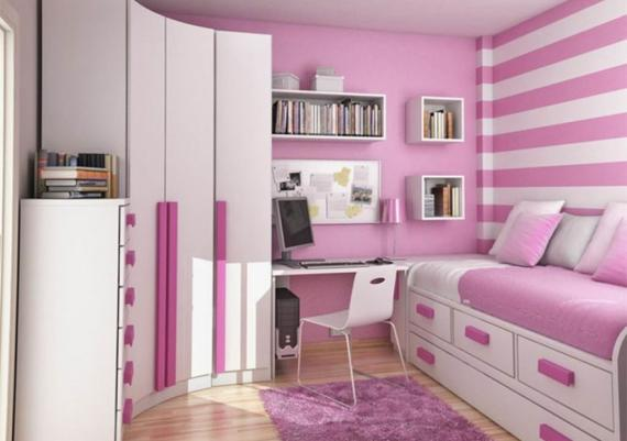 Cool Pink And White Kids Bedroom Furniture And Walls Idea