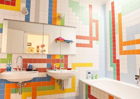 Delightful Kids Bathroom Ideas With Colorful Ceramic Tile Wall