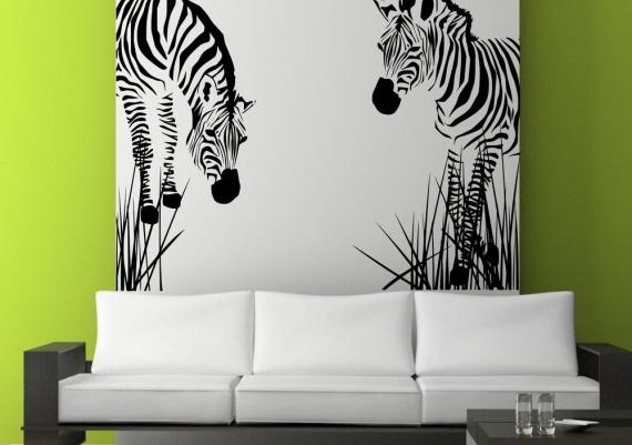 Delightful Zebra Wall Art Stencil On Lime Green Living Room Wall