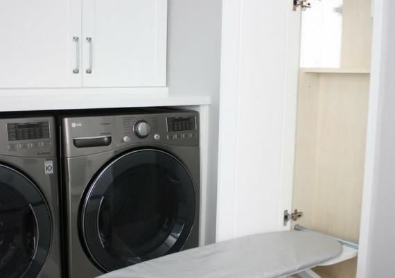 Downstairs Laundry Room With Built-in Ironing Board