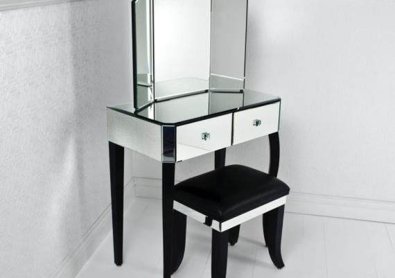 Fabulous Black And White Glass Vanity Table And Chair