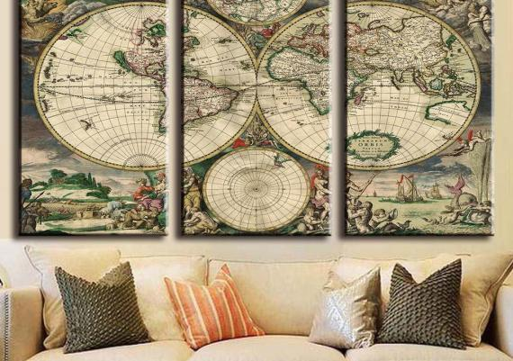 Fabulous Picture Europe Old Map Oil Painting Living Room Wall Art