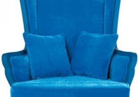 Gorgeous Oversized Blue Velvet Wing Chair