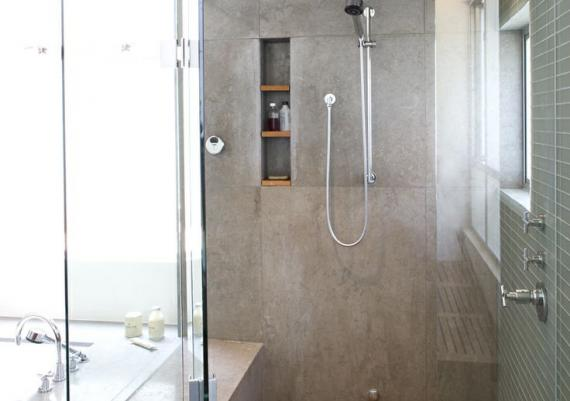 Gray Bathroom, Wood Shower Floor And Separate Bathtub