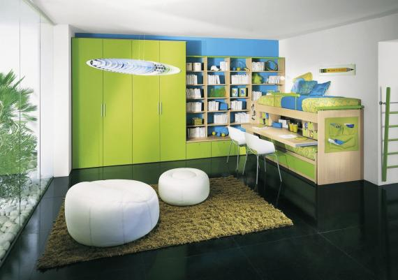 Green And Blue Impressive Modern Kids Bedroom Furniture Set Ideas