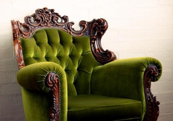 Green Velvet With Gorgeous Hand-tooled Framing Chair