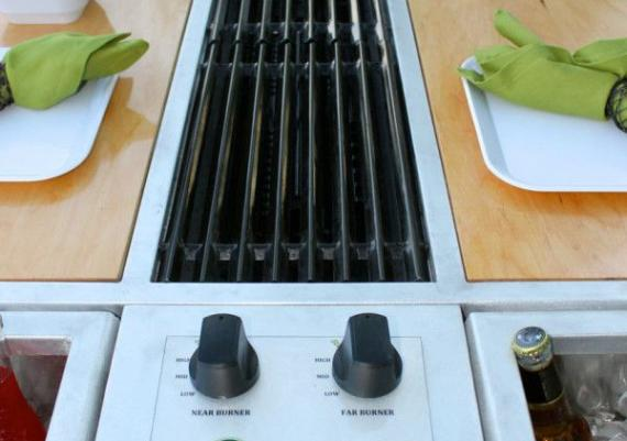 Integrated Grill Built Into A Picnic Table Design