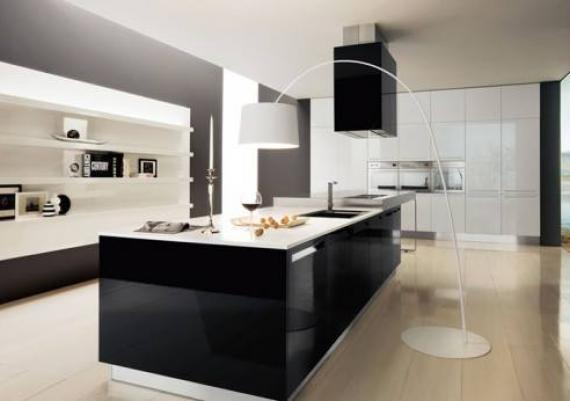 Kitchen In Modern White And Black