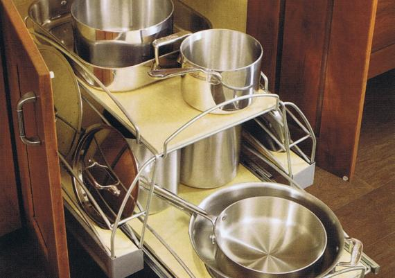 Kitchen Utensils Rack Pot Pan Organizer and Solid Cherry Wood Pull Out