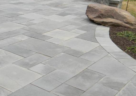 Light Grey Coloured Stone Pavers For Rear Garden Patio