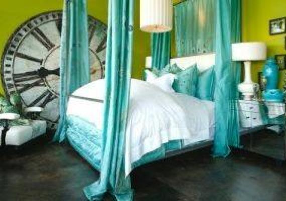 Lime, Turquiose And White Contemporary Bedroom