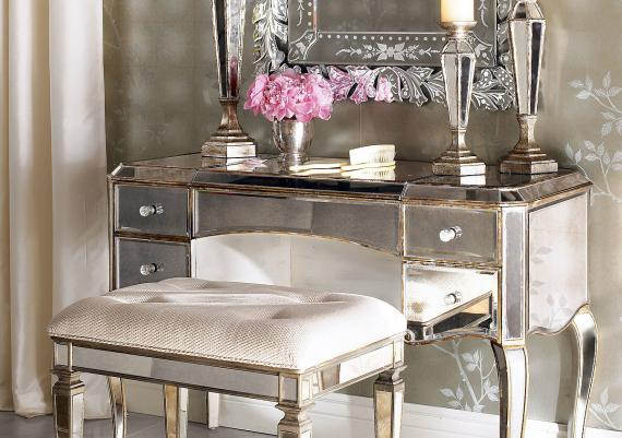 Luxurious Glass Vanity Table With Drawer And Candle Holders And Wall Mounted Mirror