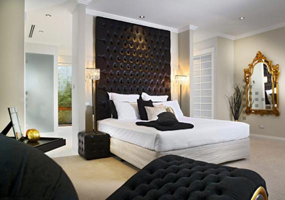 Modern Bedroom Design Using Extra High Black Headboard Bed