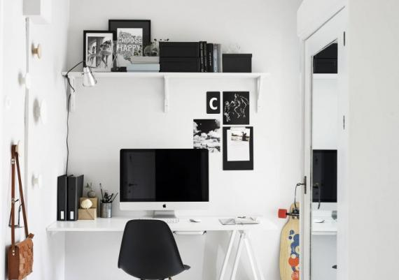 Modern Black And White Desk In Rustic Living Room