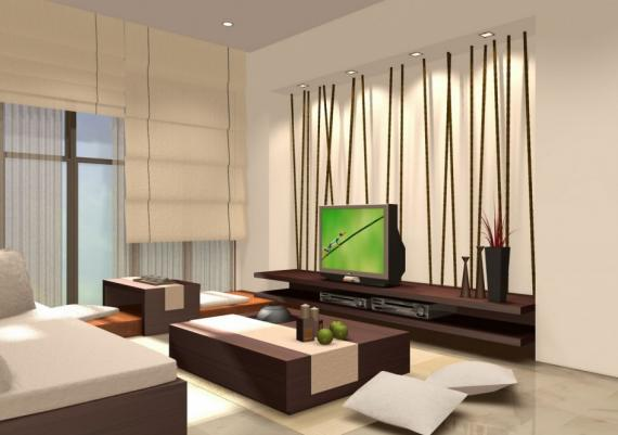 Modern Creamy Japanese Living Room Design