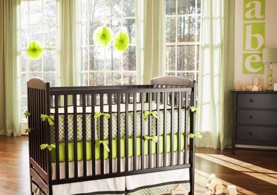 Modern Green And Wenge Baby Cribs