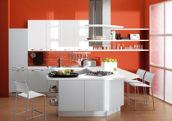 Modern Kitchen Cabinet Trends With Orange Walls