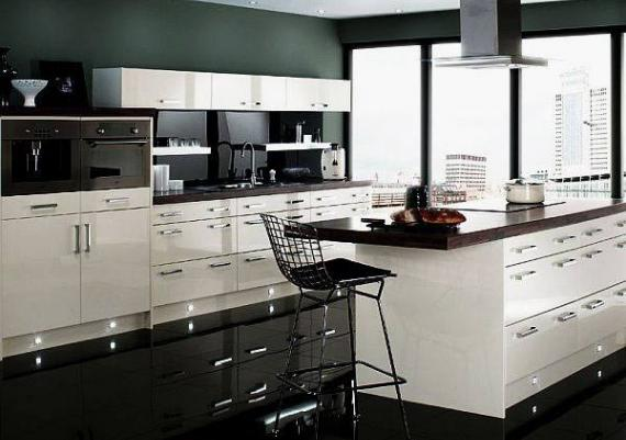 Modern Kitchen With White Cabinets And Black Floor And Walls