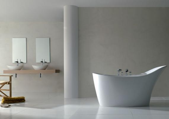Modern White Bathroom Designs With A Slipper Bath Tub