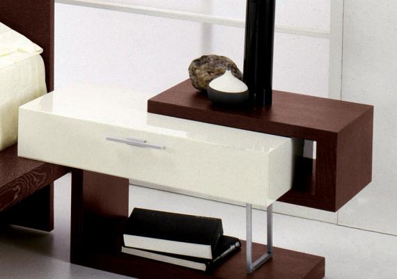 Modern And Futuristic White And Brown Nightstand