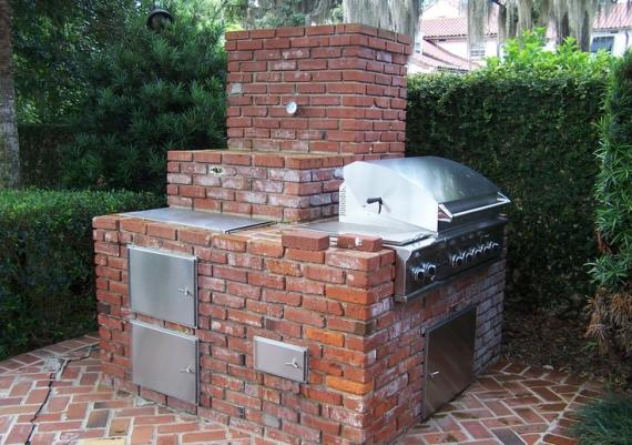 Outdoor Brick Grill And Smoker For Backyard