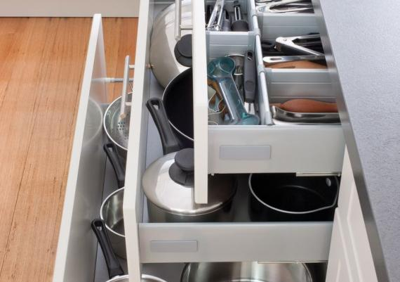 Pot Drawers And Cutlery Drawers For Organized Kitchen