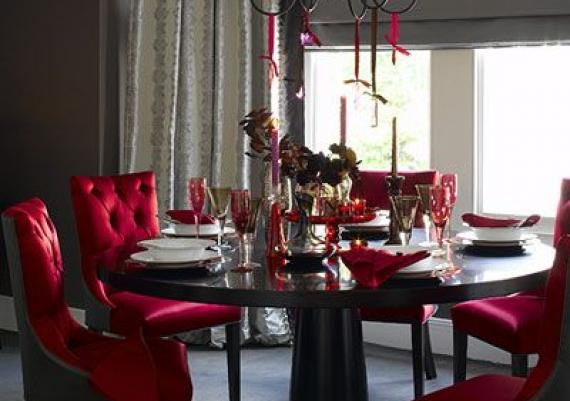 Red And Grey Dinning Room Design Idea For Your Home