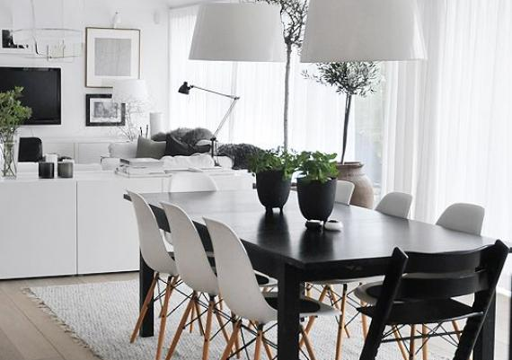 Scandinavian White And Black Dining Area For Your Home