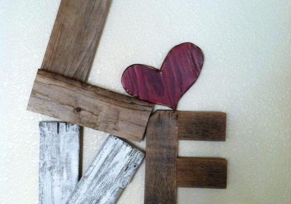 Shabby Chic Valentine Distressed Wood Love Sign