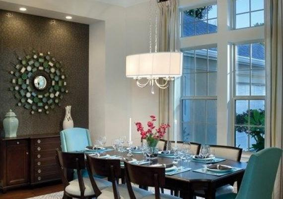 Simply Beautiful Charcoal And Turquoise Dining Room
