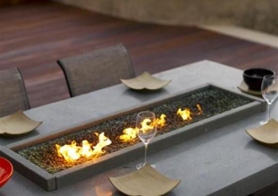 Small Fire Pit On Outdoor Dining Table
