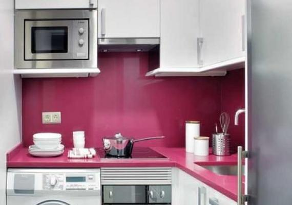 Small White, Fucshia and Grey Small Kitchen