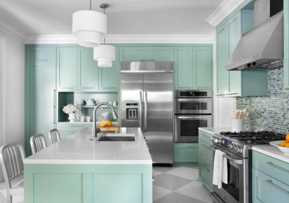 Turquoise Color Idea For Painting Kitchen Cabinets