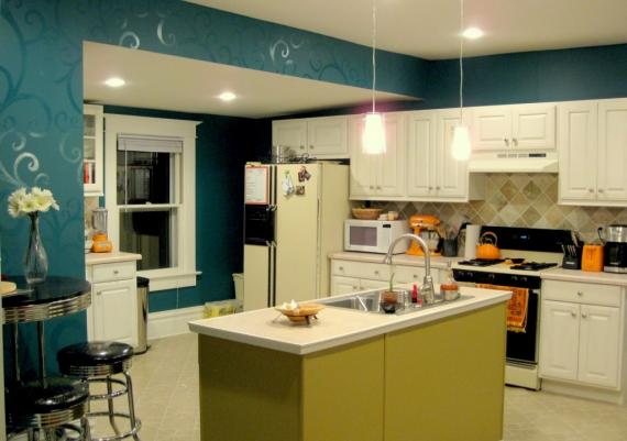 Turquoise Walls Plus White And Green Cabinets For Your Kitchen