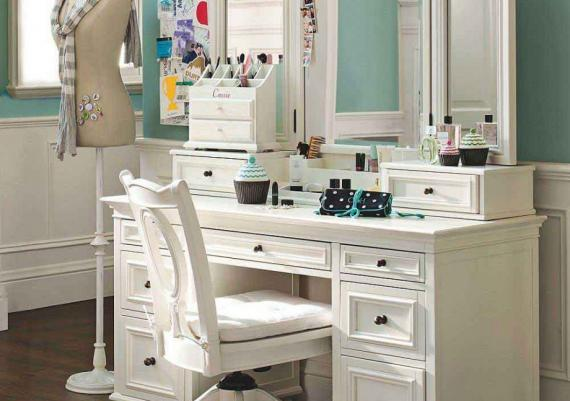 Vanity Dressing Table With Makeup Storage And Drawers Painted In White