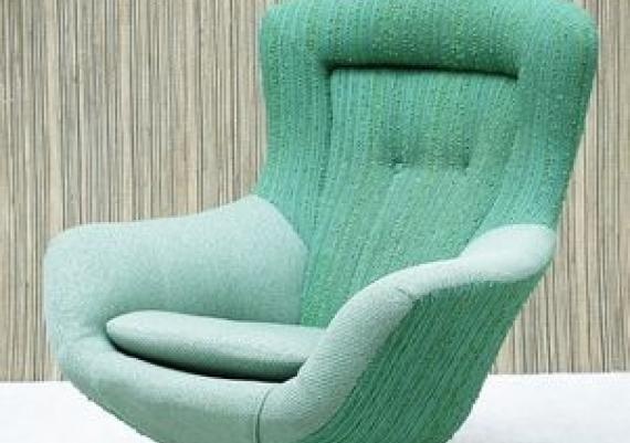 Vintage Turquoise Swivel Chair
