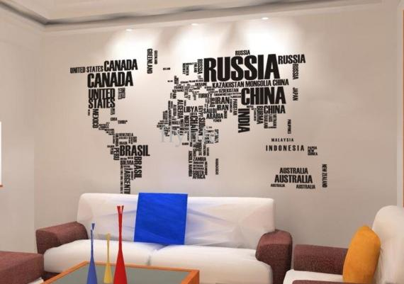 World Map Wall Stickers For Your Living Room