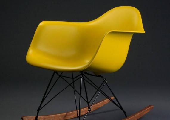 Yellow Fiberglass Swivel Shell Chair