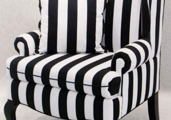 Black And White Stripped Modern Armchair