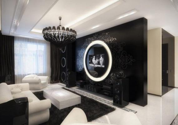 Inspiring Wonderful Contemporary Black And White Living Room