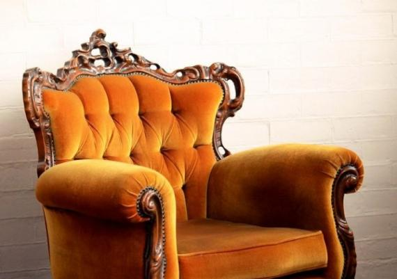Beautiful Orange Velvet And Wood Armchair