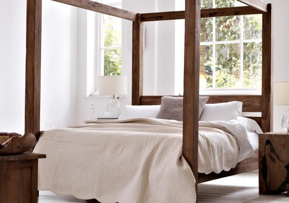 Wood Framed Four Poster Modern Bed