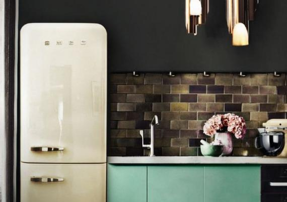 Turquoise And Black Chic Scandinavian Kitchen Design
